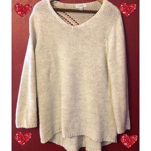 Dressbarn Hi-Lo Cream Sweater